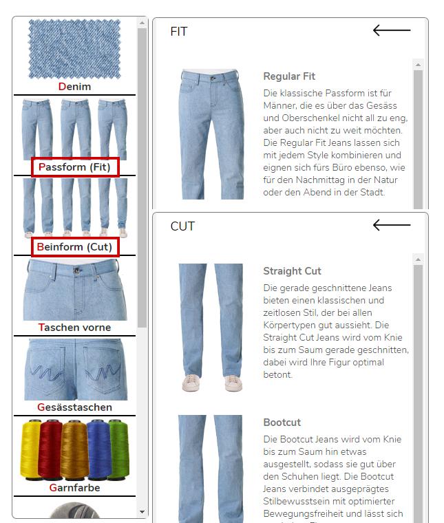 Jeans ch, bestimme die Passform selber